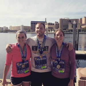 Gasparilla 5k finishers: (from left) Megan, Bubba, and me.