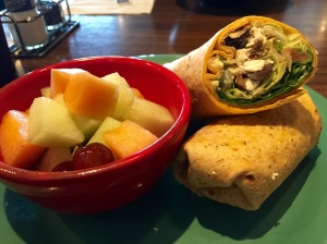 Veggie wrap and fruit cup at Red Elephant