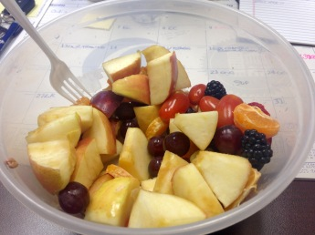 It's fruit! Fruit for lunch! Apples, clementines, strawberries, blackberries, & tomatoes.