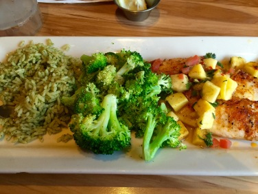 Mango-chile tilapia with rice and broccoli.