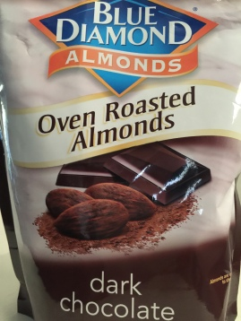 Dark Chocolate almonds. These aren't the coated kind that taste like candy; this is just a nice thin layer of cocoa powder.